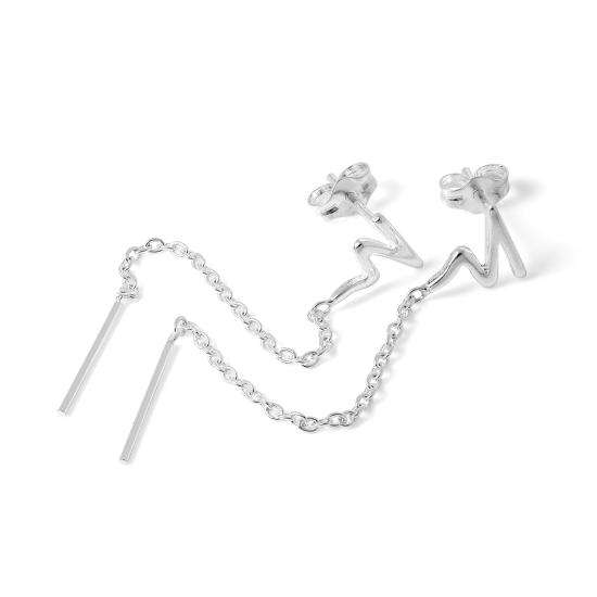 Sterling Silver Zig Zag Chain & Bar Drop Stud Earrings