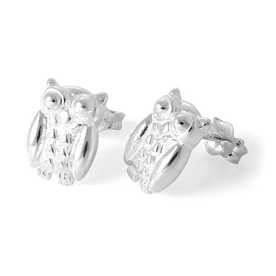Sterling Silver Perching Owl Stud Earrings