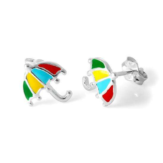 Sterling Silver & Enamel Umbrella Stud Earrings