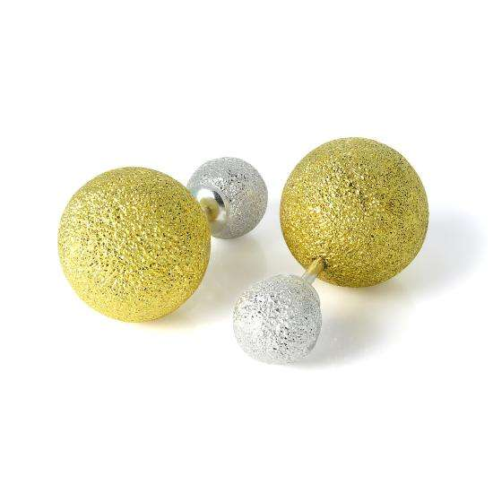 Gold Dipped Sterling Silver Frosted Double Sided Heavy Ball Stud Earrings