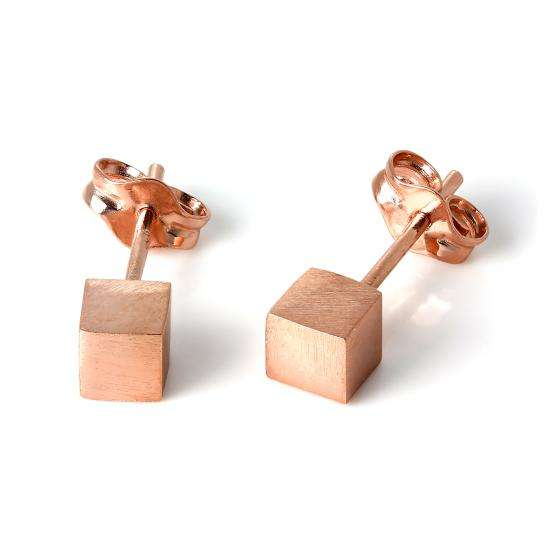 Rose Gold Plated Sterling Silver Matt Finish 4mm Cube Stud Earrings
