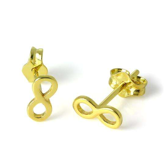 Small Gold Plated Sterling Silver Infinity Loop Stud Earrings