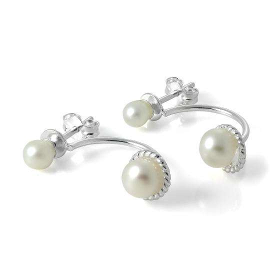 Sterling Silver Ear Jacket Stud Earrings with Double Pearls