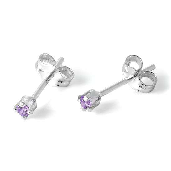 Sterling Silver & 2mm Round Amethyst CZ Crystal Stud Earrings