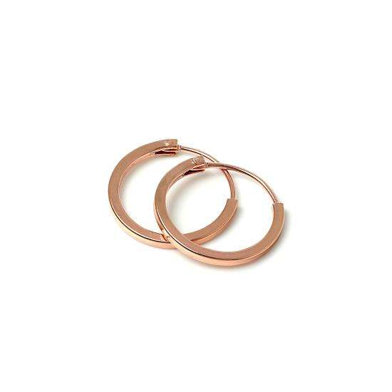Rose Gold Plated Sterling Silver 1mm Square Sleeper 12mm Hoop Earrings