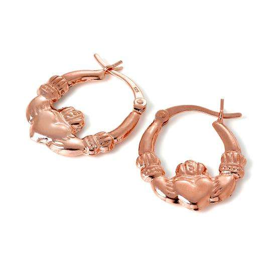 Rose Gold Plated Sterling Silver Claddagh Creole Hoop Earrings