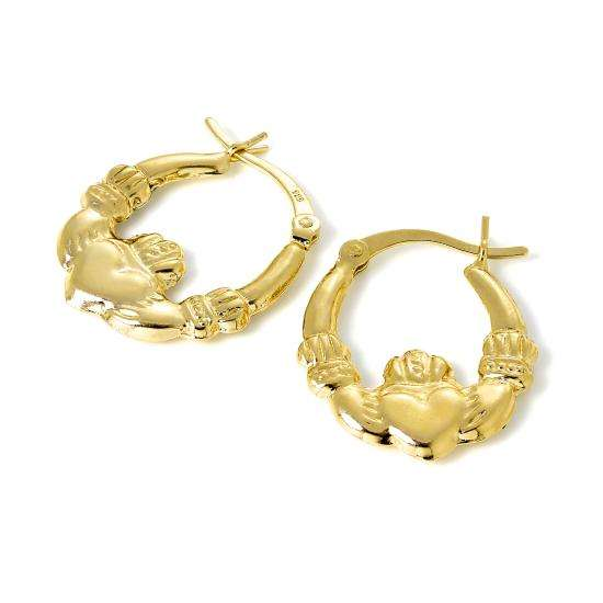 Gold Plated Sterling Silver Claddagh Creole Hoop Earrings