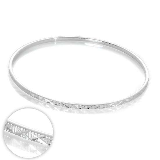 Sterling Silver Diamond Cut Kiss 66mm Stacking Bangle