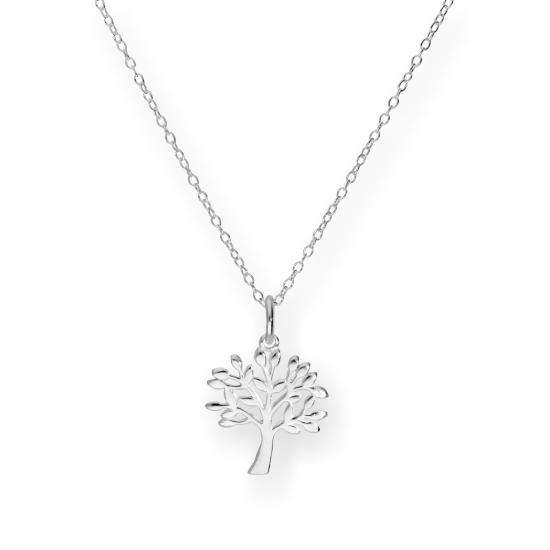 Sterling Silver 18 Inch Oak Tree Necklace