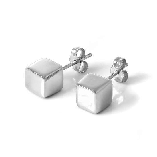 Sterling Silver 6mm Cube Stud Earrings