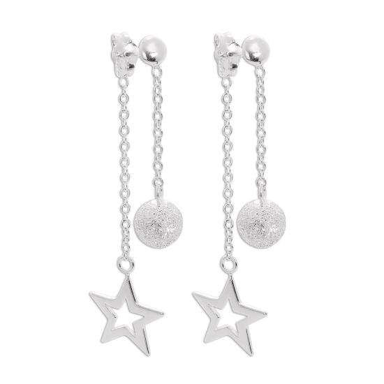 Sterling Silver Double Sided Frosted Ball and Cut Out Star Dangle Stud Earrings