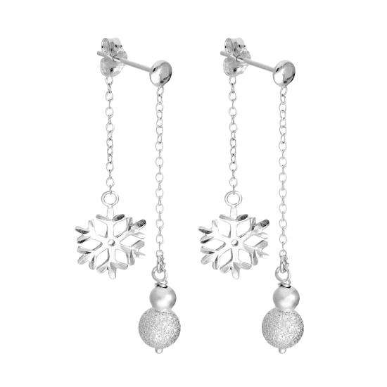 Sterling Silver Double Sided Frosted Ball & Snowflake Dangle Stud Earrings