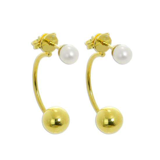 Gold Plated Sterling Silver Pearl Half Hoop & Ball Stud Earrings