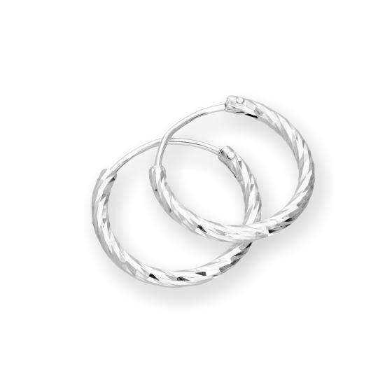 Sterling Silver Diamond Cut Hoop Earrings 15mm