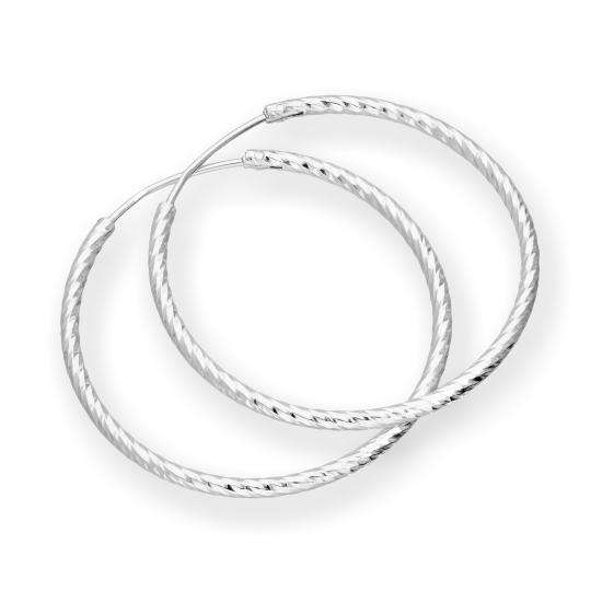 Sterling Silver Diamond Cut Hoop Earrings 28mm