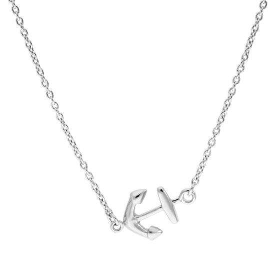 Sterling Silver Ship Anchor Necklace on 18 Inch Chain