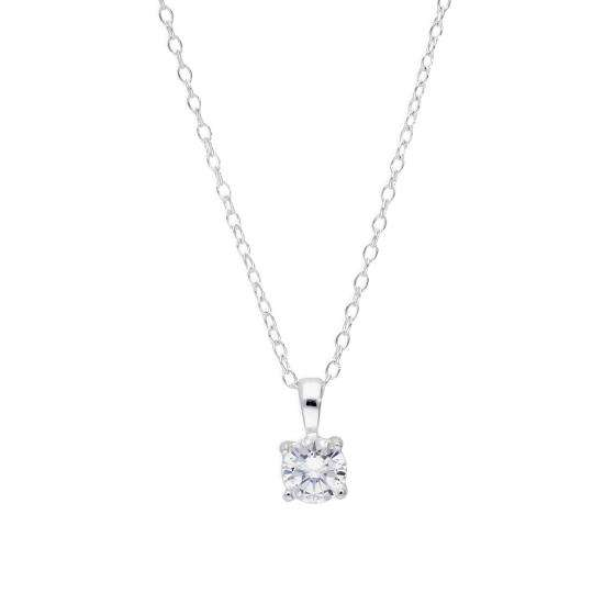 Sterling Silver & Clear CZ Crystal Pendant on 18 Chain