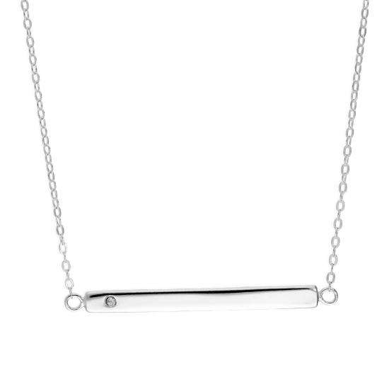 Sterling Silver & Clear CZ Crystal Engravable Bar Necklace on 18 Inch Chain