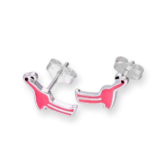 Sterling Silver & Pink Flamingo Stud Earrings