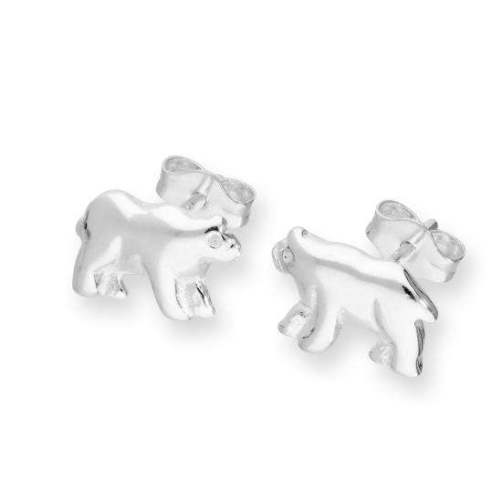 Sterling Silver Polar Bear Stud Earrings