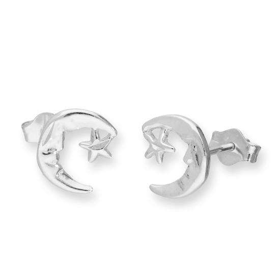 Sterling Silver Crescent Moon and Star Stud Earrings