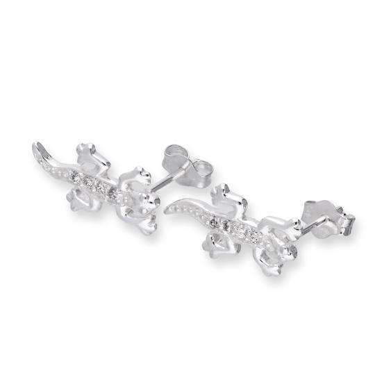 Sterling Silver & Clear CZ Crystal Lizard Stud Earrings