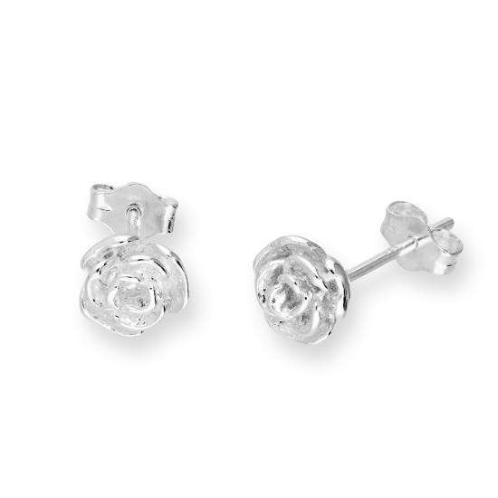 Sterling Silver Rose Bud Stud Earrings