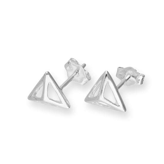 Sterling Silver Open Triangle Shape Stud Earrings