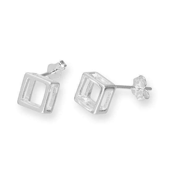 Sterling Silver Open Box Shape Stud Earrings
