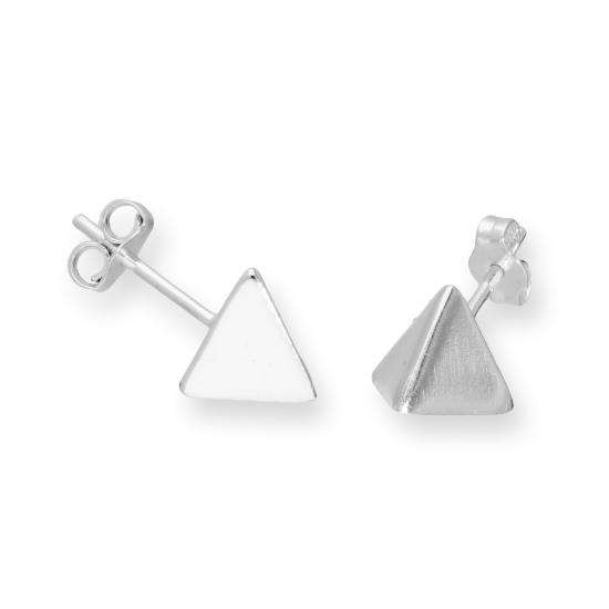 Sterling Silver Pyramid Stud Earrings