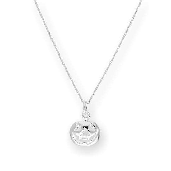 Sterling Silver Pumpkin Pendant Necklace 16 - 22 Inches