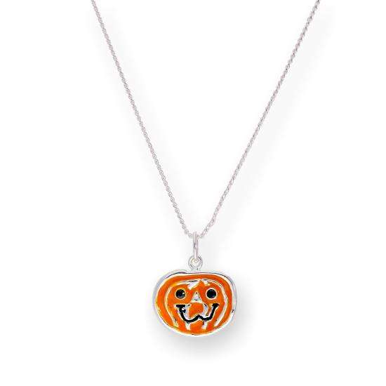 Sterling Silver & Enamel Pumpkin Pendant Necklace 16 - 22 Inches