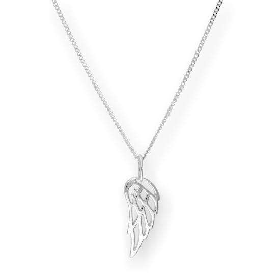 Sterling Silver Open Angel Wing Pendant Necklace 16 - 22 Inches