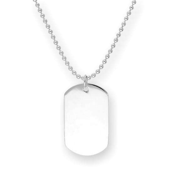 Sterling Silver Engravable Large Dog Tag Pendant Necklace 14 - 22 Inches