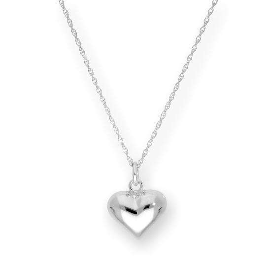 Sterling Silver Puffed Heart Pendant Necklace 16 - 22 Inches