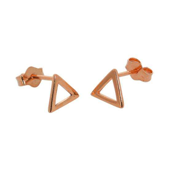 Rose Gold Plated Sterling Silver Open Triangle Stud Earrings