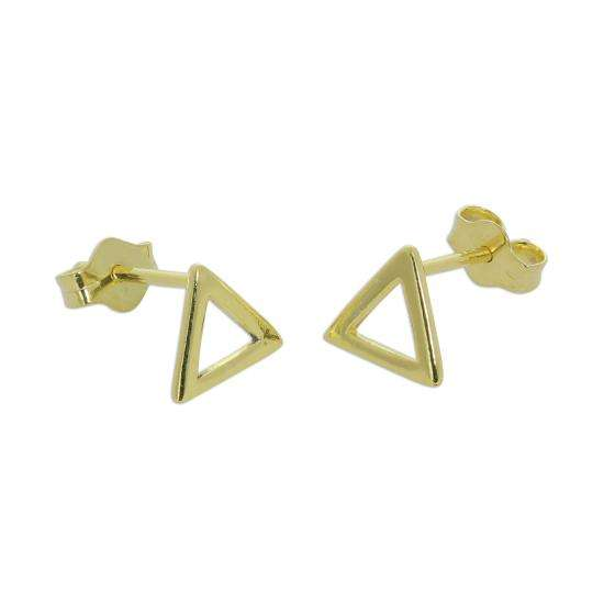Gold Plated Sterling Silver Open Triangle Stud Earrings