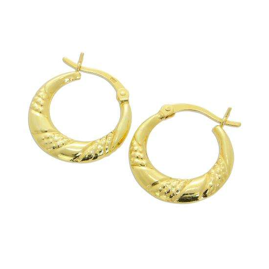 Gold Plated Sterling Silver Triple Twist Creole Hoop Earrings