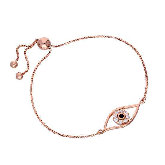 Rose Gold Plated Sterling Silver & CZ Crystal Evil Eye Adjustable Bracelet