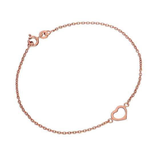Rose Gold Plated Sterling Silver 7 Inch Heart Bracelet