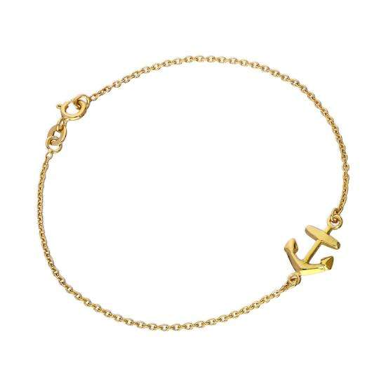 Gold Plated Sterling Silver 7 Inch Anchor Bracelet