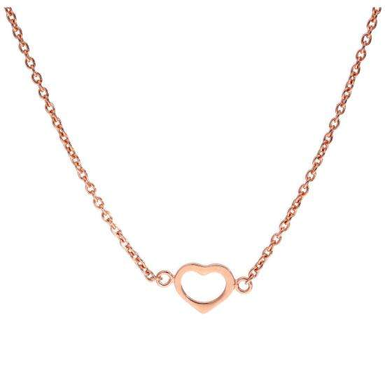 Rose Gold Plated Sterling Silver Heart Pendant on 18 Inch Chain