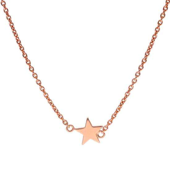 Rose Gold Plated Sterling Silver Star Pendant on 18 Inch Chain