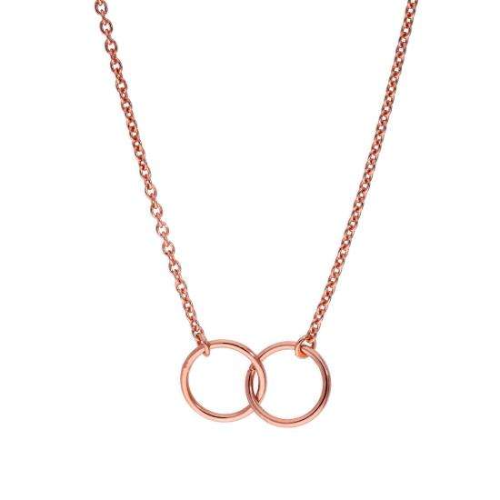 Rose Gold Plated Sterling Silver Karma Circle Pendant on 18 Inch Chain