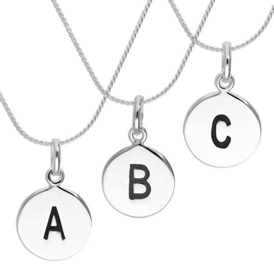 Sterling Silver Black Filled Initial Letter Necklace A - Z 16 - 22 Inches