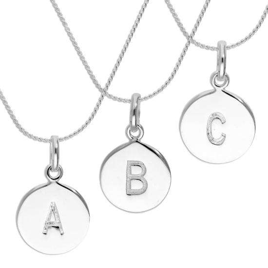 Sterling Silver Initial Letter Necklace A - Z 16 - 22 Inches Plain