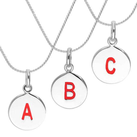 Sterling Silver Red Filled Initial Letter Necklace A - Z 16 - 22 Inches