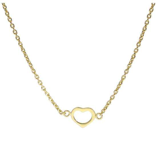 Gold Plated Sterling Silver Heart Outline 18 Inch Necklace