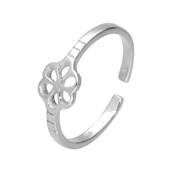 Sterling Silver Flower Adjustable Toe Ring