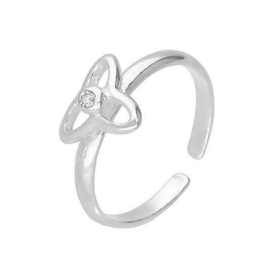 Sterling Silver & Clear CZ Crystal Triquetra Adjustable Toe Ring